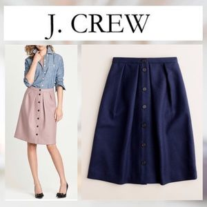 J Crew navy blue wool double serge flare skirt